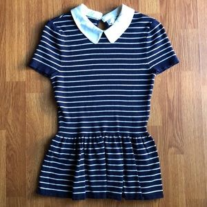 Maison Jules Peplum striped shirt